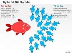 Business Diagram Big Red Fish With Blue Fishes Presentation Template