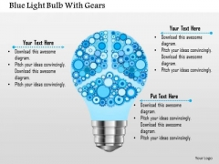 Business Diagram Blue Light Bulb With Gears Presentation Template