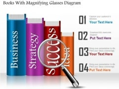 Business Diagram Books With Magnifying Glasses Diagram PowerPoint Ppt Presentation