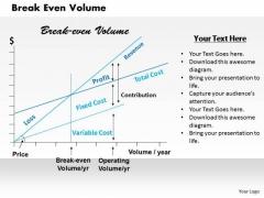 Business Diagram Break Even Volume PowerPoint Ppt Presentation