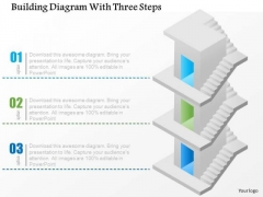 Business Diagram Building Diagram With Three Steps Presentation Template