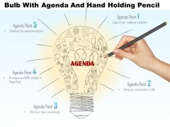 Business Diagram Bulb With Agenda And Hand Holding Pencil Presentation Template