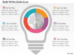 Business Diagram Bulb With Globe Icon Presentation Template