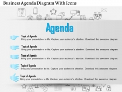Business Diagram Business Agenda Diagram With Icons Presentation Template