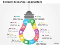 Business Diagram Business Icons On Hanging Bulb Presentation Template