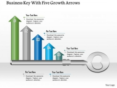 Business Diagram Business Key With Five Growth Arrows Presentation Template