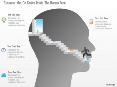 Business Diagram Business Man On Stairs Inside The Human Face Presentation Template