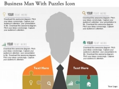 Business Diagram Business Man With Puzzles Icon Presentation Template