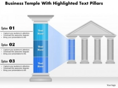 Business Diagram Business Temple With Highlighted Text Pillars Presentation Template