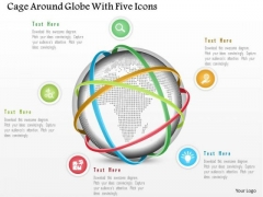 Business Diagram Cage Around Globe With Five Icons Presentation Template