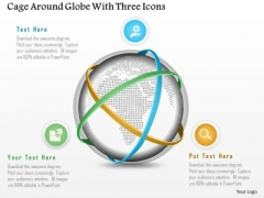 Business Diagram Cage Around Globe With Three Icons Presentation Template