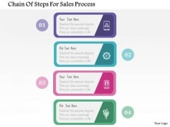 Business Diagram Chain Of Steps For Sales Process Presentation Template