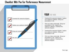 Business Diagram Checklist With Pen For Performance Measurement Presentation Template