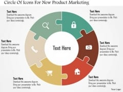 Business Diagram Circle Of Icons For New Product Marketing Presentation Template
