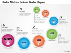 Business Diagram Circles With Icons Business Timeline Diagram Presentation Template