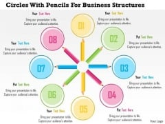Business Diagram Circles With Pencils For Business Structures Presentation Template