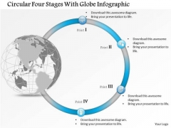 Business Diagram Circular Four Stages With Globe Infographic Presentation Template