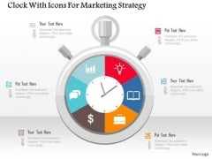 Business Diagram Clock With Icons For Marketing Strategy Presentation Template