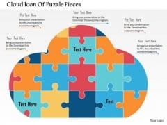 Business Diagram Cloud Icon Of Puzzle Pieces Presentation Template