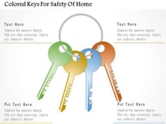 Business Diagram Colored Keys For Safety Of Home Presentation Template