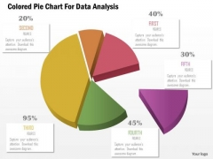 Business Diagram Colored Pie Chart For Data Analysis Presentation Template