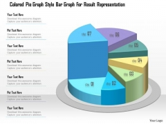 Business Diagram Colored Pie Graph Style Bar Graph For Result Representation Presentation Template