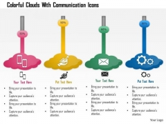 Business Diagram Colorful Clouds With Communication Icons Presentation Template