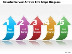 Business Diagram Colorful Curved Arrows Five Steps Diagram Presentation Template