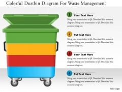 Business Diagram Colorful Dustbin Diagram For Waste Management Presentation Template