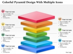 Business Diagram Colorful Pyramid Design With Multiple Icons Presentation Template