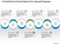 Business Diagram Colorful Seven Points Spheres For Agenda Diagram Presentation Template