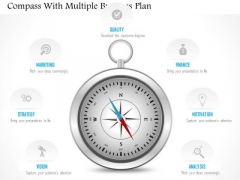 Business Diagram Compass With Multiple Business Plan Presentation Template