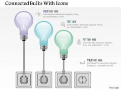Business Diagram Connected Bulbs With Icons Presentation Template