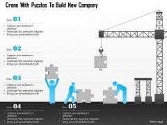 Business Diagram Crane With Puzzles To Build New Company Presentation Template