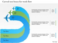 Business Diagram Curved Text Boxes For Work Flow Presentation Template