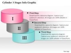Business Diagram Cylinder 3 Stages Info Graphic Presentation Template