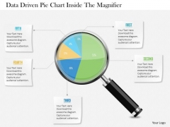Business Diagram Data Driven Pie Chart Inside The Magnifier PowerPoint Slide