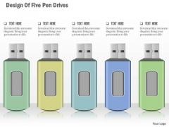 Business Diagram Design Of Five Pen Drives Presentation Template