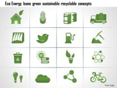 Business Diagram Eco Energy Icons Green Sustainable Recyclable Concepts Ppt Slide