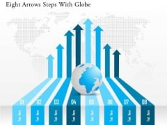 Business Diagram Eight Arrows Steps With Globe Presentation Template
