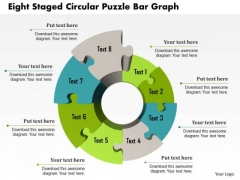 Business Diagram Eight Staged Circular Puzzle Bar Graph Presentation Template