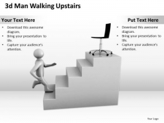 Business Diagram Examples 3d Man Walking Upstairs PowerPoint Slides