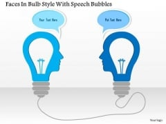 Business Diagram Faces In Bulb Style With Speech Bubbles Presentation Template