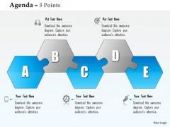 Business Diagram Five Alphabetic Hexagonal Shape Blocks Agenda Diagram Presentation Template