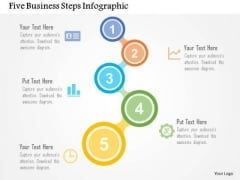 Business Diagram Five Business Steps Infographic Presentation Template