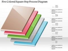 Business Diagram Five Colored-square Step Process Diagram Presentation Template