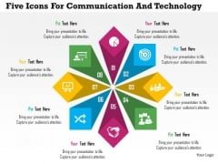 Business Diagram Five Icons For Communication And Technology Presentation Template