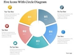 Business Diagram Five Icons With Circle Diagram Presentation Template