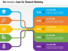 Business Diagram Five Modern Icons For Research Marketing Presentation Template