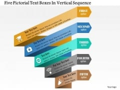 Business Diagram Five Pictorial Text Boxes In Vertical Sequence Presentation Template